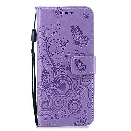 BONROY [Ständer Funktion PU Schutzhülle,Premium PU Leder Flip Tasche Case mit Integrierten Kartensteckplätzen und Ständer für Samsung Galaxy S8 PU-(XC-Schmetterling lila geprägt)