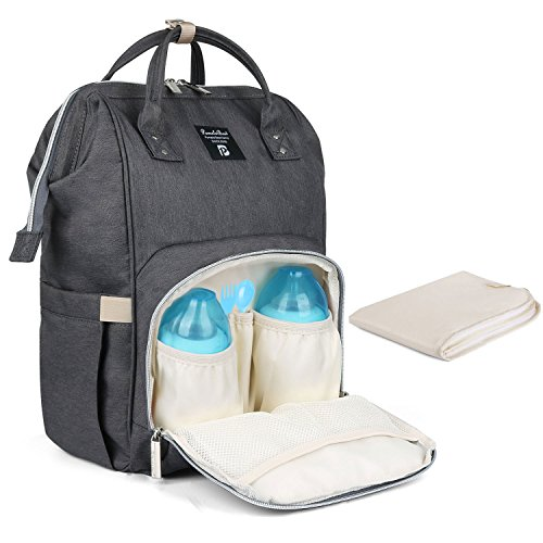 Baby Wickelrucksack Wickeltasche mit Wickelunterlage Multifunktional Oxford Große Kapazität Babytasche Kein Formaldehyd Reiserucksack für Unterwegs (Dunkelgrau) (Kinderwagen-system)