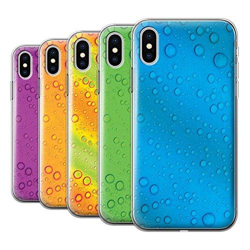 Stuff4 Gel TPU Hülle / Case für Apple iPhone X/10 / Orange/Gelb Muster / Wassertropfen Kollektion Pack 7pcs