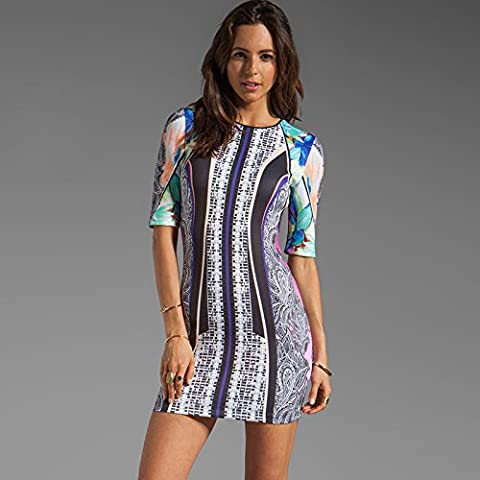 WJS Ladies clothing Printed dress, fashionable collar, jungle design, fashionable print, retro
