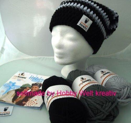 my-boshi-hakelset-mutzeschwarz-grau-hellgrau-150g-myboshi-wolle-label-anleitungsbuch-hobby-welt-hake
