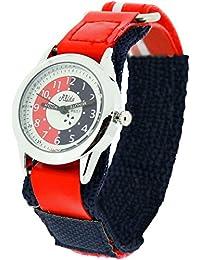 Montre Pédagogique Relda pour Enfant avec Bracelet Velcro Bleu Marine & Rouge + Attestation