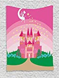 daawqee Girly Wall Hanging Magic Fantasy Fairy Tale Princess Castle with Pixie in Sky Fictional Dream Kingdom Print Bedroom Living Room Dorm 60 W x 80 L Inches Unique Home Decor