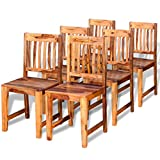 Festnight Solid Wood Dining Chairs Set of 6 Kitchen Table Chairs for Dinning Room (Bkrown)