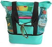 AMERTEER Beach Bag - Beach Tote Zipper & Insulated Cooler Waterproof Beach Bag, Mesh Beach Tote, Beach Gear, Beach Essentials