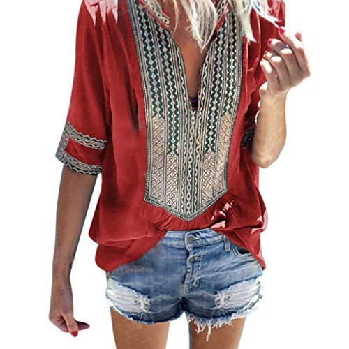 Costura Color de ContrasteTops Mujer Ronamick Lunares O Cuello...