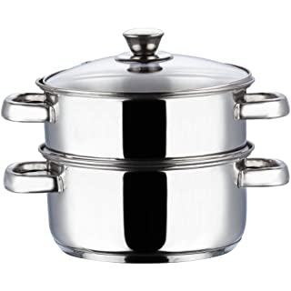 Vinod Stainless Steel 2 Tier Steamer with Glass Lid  18cm  Induction Friendly