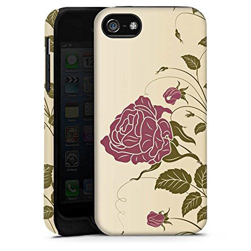 Apple iPhone X Silikon Hülle Case Schutzhülle Rosen Blumenranken Blätter Tough Case matt