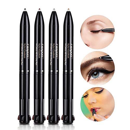 Wanbor Cosmetics Multi-function Waterproof Eyebrow Pen, 4 IN 1 Black + Grey + Coffee + Brown Colors...