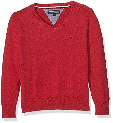 Tommy Hilfiger VN Sweater L/S, Felpa Bambino, Rosso (Chili Pepper 693), 12 Anni (Taglia Produttore: 14)