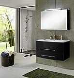 SAM Badmöbel-Set 2-tlg, Basel, Hochglanz schwarz, Softclose Badezimmermöbel, Waschplatz 100 cm Mineralgussbecken weiß, Spiegelschrank