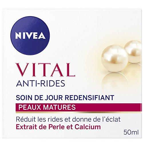 NIVEA Vital Soin de Jour Anti-Rides Redensifiant (1 x 50 ml), crème anti-âge à l'extrait naturel de Perles et Calcium, soin visage femme pour peaux matures