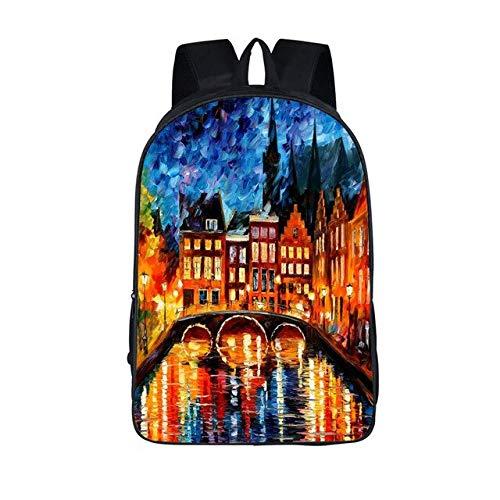 OOGUOSHENG Ölgemälde Touristenattraktionen Rucksack Für Jugendliche Venedig Der Eiffelturm Rucksäcke Schultaschen Jungen Mädchen Schultaschen Rucksack,-64663896624 -
