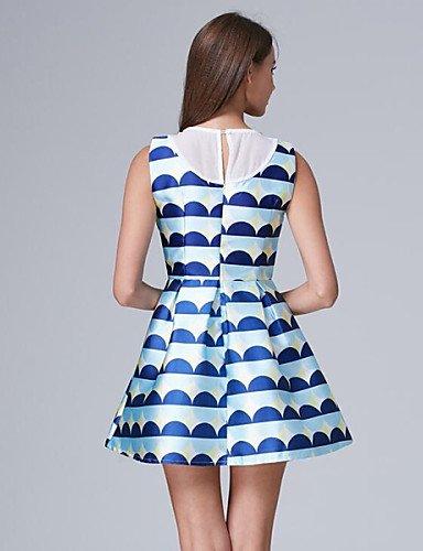 PU&PU Robe Aux femmes Trapèze Simple,Imprimé Col Ras du Cou Au dessus du genou Polyester NAVYBLUE-L
