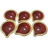 Damdar Online Bazaar Handmade Earthen Clay/Terracotta Decorative Dipawali/Diwali Diya/Tealight/Oil Lamps For Pooja/Puja-Set Of 12{DENTP-DIYA-0008,Size(Inch):1x3x2}