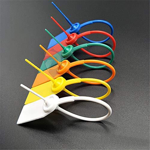 ChaRLes 100 Pcs Kunststoff Dichtung Sicherheit Tags Nummeriert Pull Krawatten Vorhängeschloss Tamper-Proof Schnalle Probe Siegel Band - Weiß -