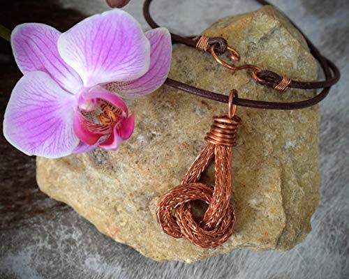 Halskette Leder Kette Anhänger Knoten aus Kupfer Wikingerschmuck -