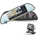 """Espejo Retrovisor para Coche - Junsun 6.86"""" GPS Navegador de la Rociada Cam HD 1080P de 160°Doble Lente de la Cámara Coche con Cámaras de visión trasera"""