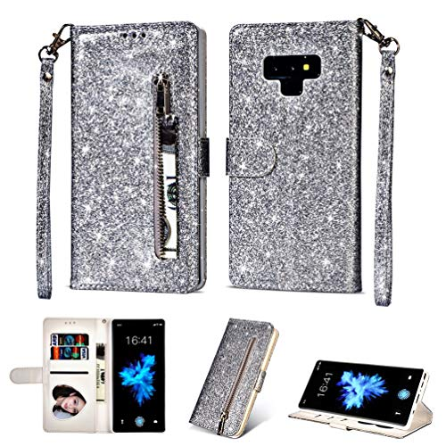 LaVibe Coque Samsung Galaxy Note 9, Housse en Cuir PU Leather Etui Portefeuille à Rabat Glitter Clapet Support Fermeture éclair Porte Video Stand, Flip Wallet Protective Case Cover–Argent