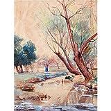 Onderdonk Landscape Figure Stream Nature Tree Painting Extra Large Wall Art Print Premium Canvas Mural Landschaft Natur Baum