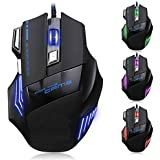 TECHBITE 5500 DPI 7 Button LED Optical USB Wired Gaming Mouse 7 LED Colours For Pro Gamer - Black Compatible With Dell,Acer ,HP ,Alien Ware