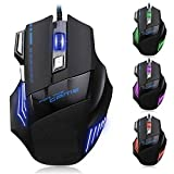 #5: Gaming Mouse 7 Button LED Optical USB Wired Gaming Mouse 7 LED Colours for Pro Gamer By Printelillegent