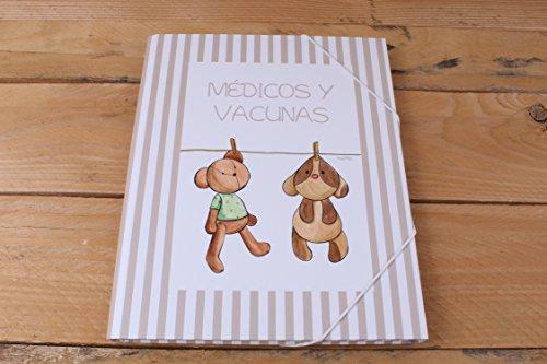 Carpeta 'Médicos y Vacunas' con peluches tendidos y greca de rayas beige
