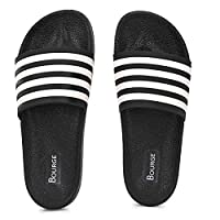Bourge Men's Canton-37 Black and White Sliders-10 UK (44 EU) (11 US) (Canton-37-10)