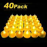 40 LED Kerzen, Sylanda LED Teelichter Kerzen Flammenlose Hell Blinkend Elektrische Gefälschte Kerze für Halloween, Weihnachten, Party, Bar, Hochzeit [Batterien Enthalten, Warmes Gelb]