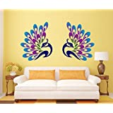 SRG India Decorative Peacock Feather Removable Decor Environmentally Mural Wall Stickers Decal Wallpaper For Kids Home Living Room Bedroom Bathroom Kitchen Office