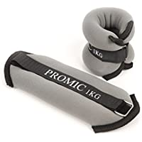 PROMIC Ankle Weights 0.5kg 1kg 1.5kg 2kg Adjustable Velcro Strap Leg Exercise Gym Resistance Training Wrist Weights for Both Women and Men,Set of 2,Red,Black,Grey Color
