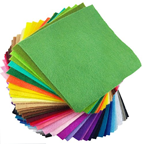 (flic-flac 42pcs1.4mm Dick aus weichem Filz Stoff Blatt sortiert Farbe Filz Pack DIY Craft Nähen Squares Vlies Patchwork)
