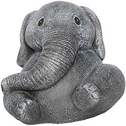 Steinfigur Elefant - Schiefergrau, Deko, Figur, Garten, Steinguss, frostsicher