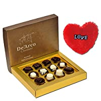 De'Arco Chocolatier Chocolates Valentine Day Gift for Girlfriend Boyfriend Husband Wife, Premium Luxury Chocolates, 12pcs + Free Fur Heart