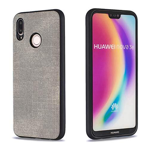 Lotuslnn Hülle für Huawei P20 Lite,Anti-Fingerabdruck,Einfarbig Denim Stoff TPU Vollschutz Anti-Fall Shell Stößen Schutzhülle kompatibel mit Huawei P20 Lite Case Cover-Grau Denim Fall