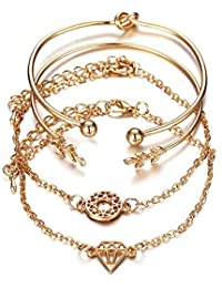 Shining Diva Fashion Jewellery Crystal Multilayer Stylish Bracelet for Women and Girls