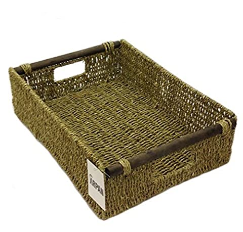 Arpan Seagrass Hamper Storage Tray With Wood Handle for Home and Office Special Gift for all Occasions (Medium - 32.5x23.5x9.5