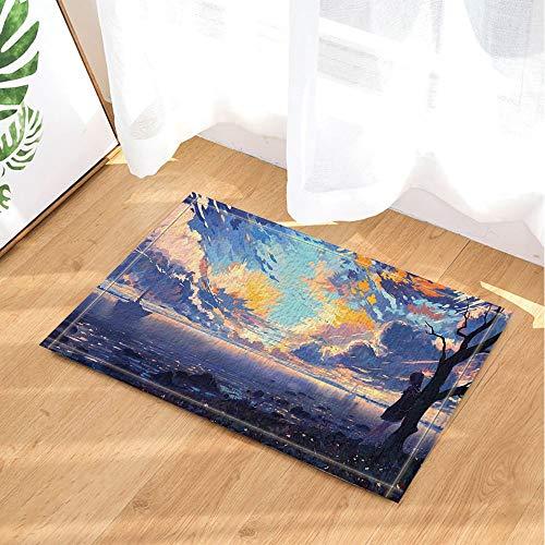 tion Segelboot Laub Blätter brennende Wolken Hintergrund Aquarell Druck Badteppiche, rutschfeste Fußmatte Boden Eingänge Haustürmatte, Kindermatte, 40x60cm, Badezimmerzubehör ()