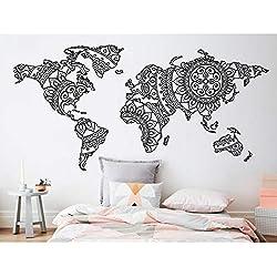 Mandala Mapa del Mundo Etiqueta de Pared de Dormitorio Decoración Yoga Pared de Vinilo Patrón de Arte Tatuajes de Pared Moderno Estilo Boho Decoración Para El Hogar Mural 43x21 cm