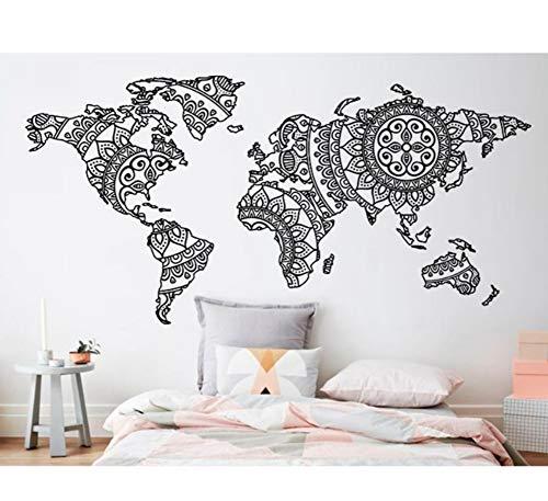 Dalxsh Mandala Mapa del Mundo Etiqueta de La Pared Dormitorio Decoración Yoga Pared de Vinilo Patrón de Arte Tatuajes de Pared Moderno Estilo Boho Decoración Para El Hogar Mural 43x21 cm