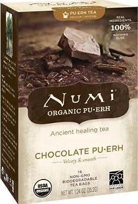 Numi Organic Tea Chocolate Pu-erh, Full Leaf Black Tea, 16 Count Tea Bags by Numi®