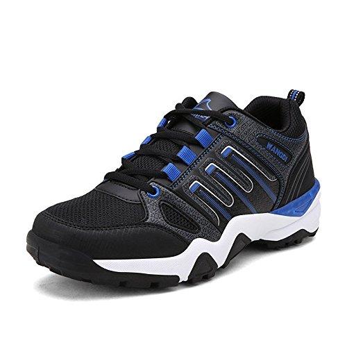 Chaussures de sport pour hommes de mode espadrilles respirante légère chaussure de course black and blue