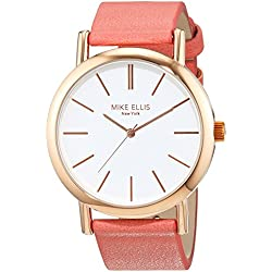 Mike Ellis New York Women's Quartz Watch with White Dial Analogue Display and Imitation Leather Pink - SL2979B6