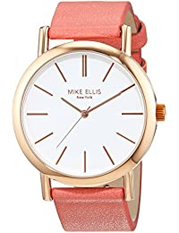 Mike Ellis New York - Orologio da polso, Donna, Analogico, cinturino in ecopelle rossa