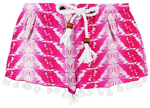 Snapper Rock Mädchen UPF 50+ UV Sonnen Schutz Bade Shorts für Kinder & Teenager, Fushia Feder, 5-6 jahre, 116-122cm (Nylon Boardshorts Drawstring)