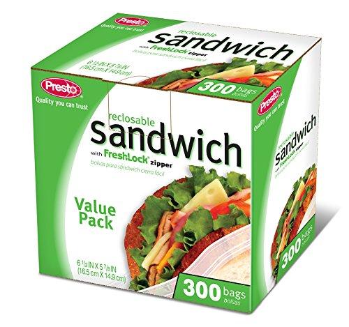Sandwich Taschen Zip Lock 300Taschen–PRESTO (auslaufsicher Multibahn) (300 Count Tasche)
