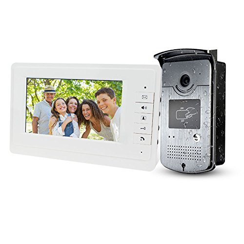 LIBO 7inch Wired Color Video Door Phone Intercom System Video Doorbell Indoor Monitor Camera with 25 Ringtone for Apartment Safe