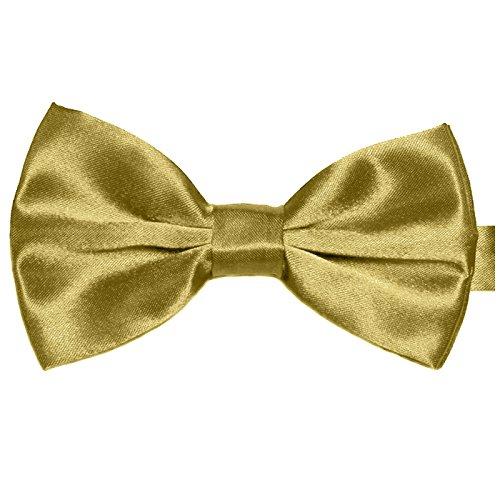 GASSANI Herren-Fliege Gold-Gelb Satin Seide-Optik | vor-gebundene Anzugschleife Doppelflügel | verstellbar