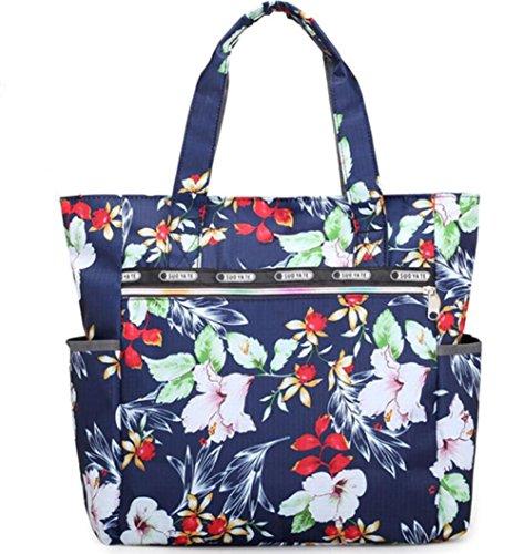 TINGTING Womens Handtasche Wasserdichte Oxford Tuch Tasche Blume Tuch Umhängetasche Nylon Tote Bag Big Bag Laptop Bag,5