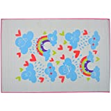 Baby Bucket Water Proof Mat/Sheet/Godri (Quilted Pads 60 X 90 CM Colour:Print May Very White & Pink Rainbow)